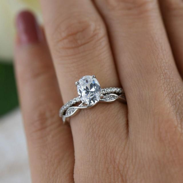 125 Ctw Oval Art Deco Swirl Wedding Set Solitaire Ring
