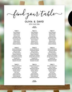 Wedding seating chart template printable plan sign board pdf instant download editable poster weddbook also rh