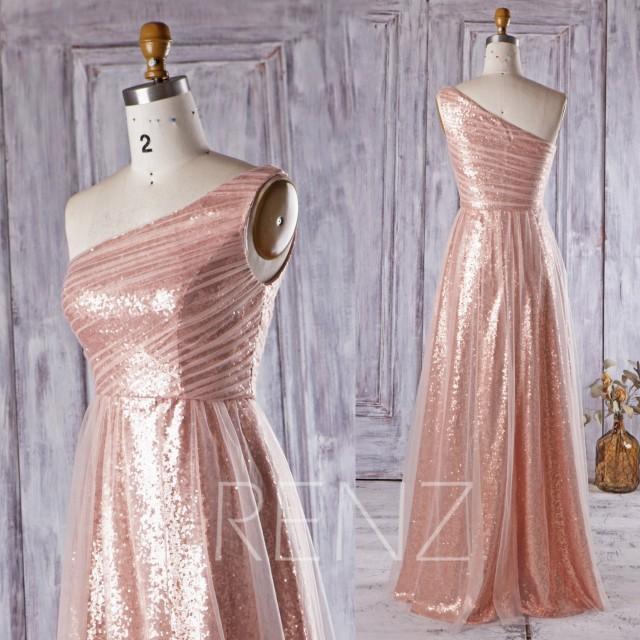 2016 Peach Mesh Bridesmaid Dress Long Rose Gold Sequin Wedding Dress One Shoulder Prom Dress