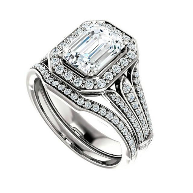 1.50 Ct Forever Brilliant Moissanite Diamond Wedding Set