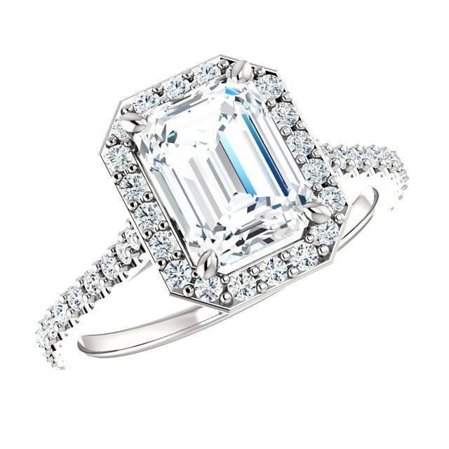 150 Carat Emerald Cut Diamond Amp Halo Engagement Ring 18k