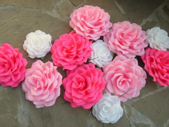 12 Giant Paper Flowers/Giant Paper Roses/Wedding