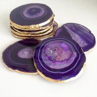 Puple Agate Slice Coasters. Set Of Four. Crystal Quartz ...