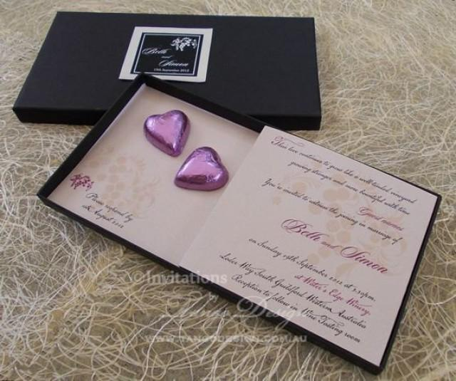 Chocolate Wedding Invitation In A Box Chocolate Hearts
