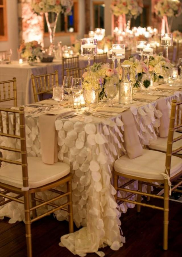 Petal Tablecloth Ivory White Blush Pink  Ready To Ship