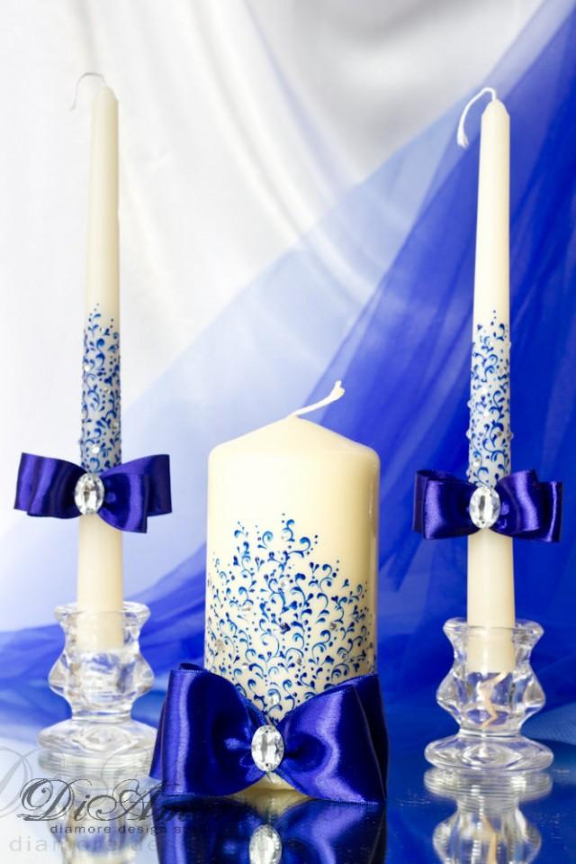 Royal Blue Wedding Unity Candle From The Collection Lace Personalization Gift Ideas Wedding