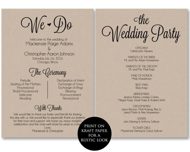 Ceremony Program Template Wedding Program Printable We Do Wedding Printable Template PDF
