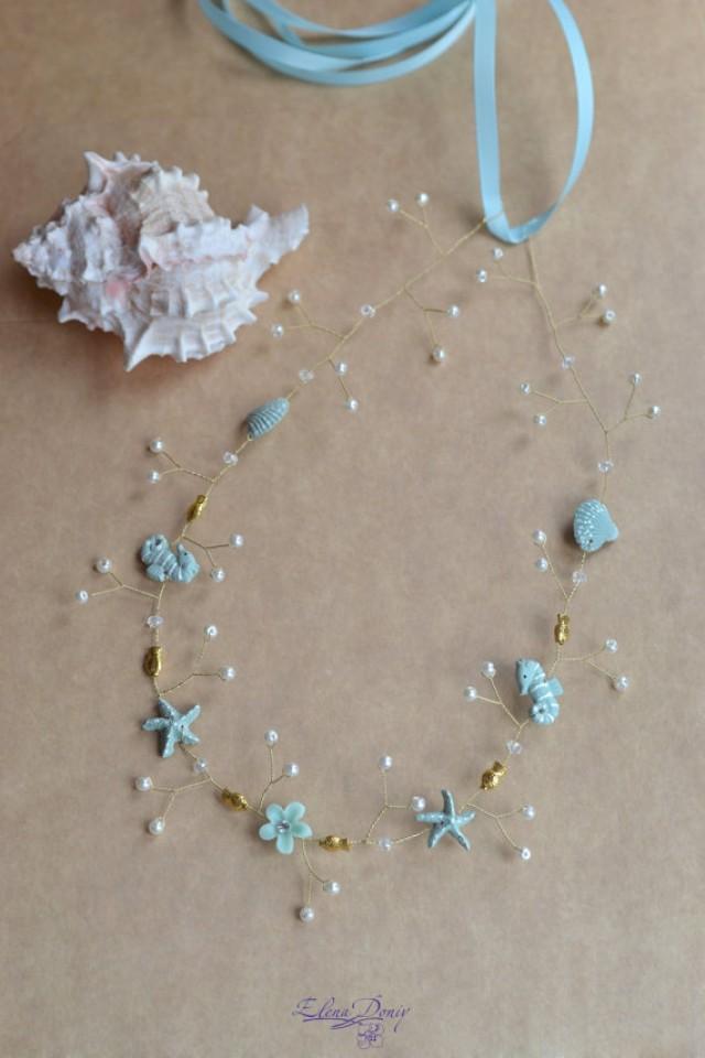 Seashell Wedding Crown Beach Bridal Crown Light Blue Hair