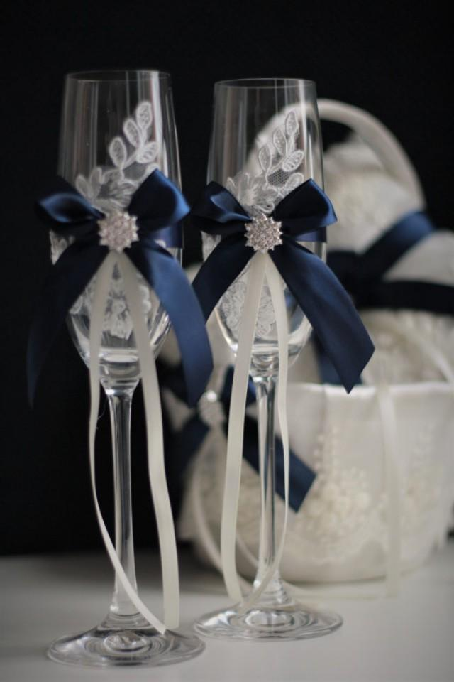 Navy Blue Wedding Glasses Navy Champagne Glasses Wedding