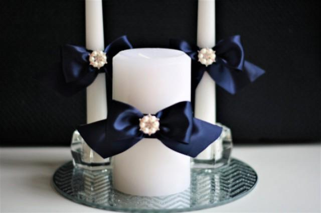 navy blue wedding candles