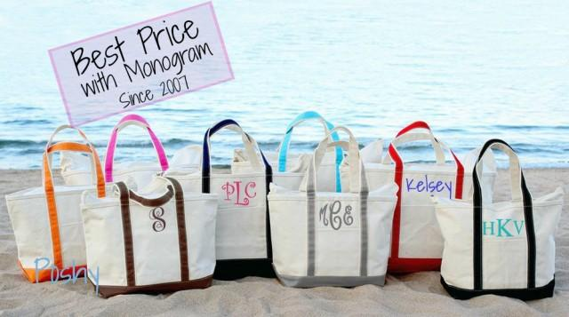 Monogram Boat Tote, Large Boat Tote, Personalized Beach