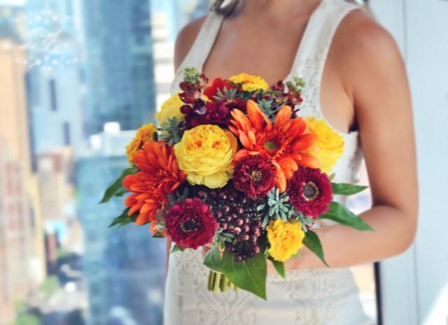 Fall Wedding Bouquet, Orange Bridal Bouquet, Fall Flowers
