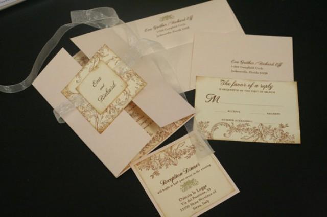 Vintage Wedding Invitation Sets Flowers Flourish French