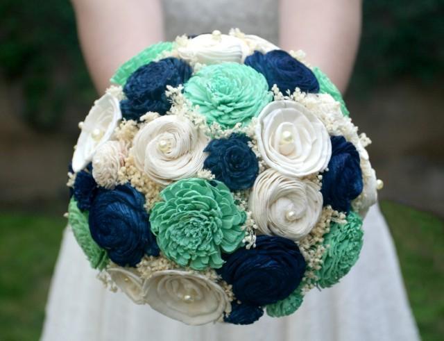 Jade Green Amp Navy Wedding Bouquet Bridal Bouquet Mint