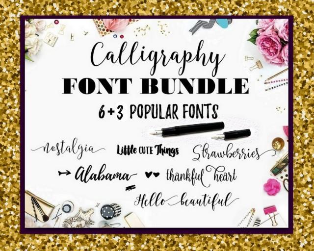Download Digital Font Swirly Fonts Bundle Calligraphy Digital ...