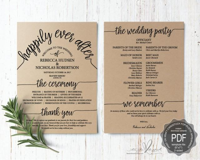 Wedding Program PDF Card Template Instant Download Editable Printable Ceremony Order Card In