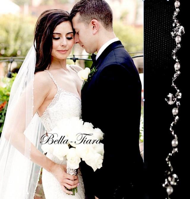 crystal wedding veil pearl