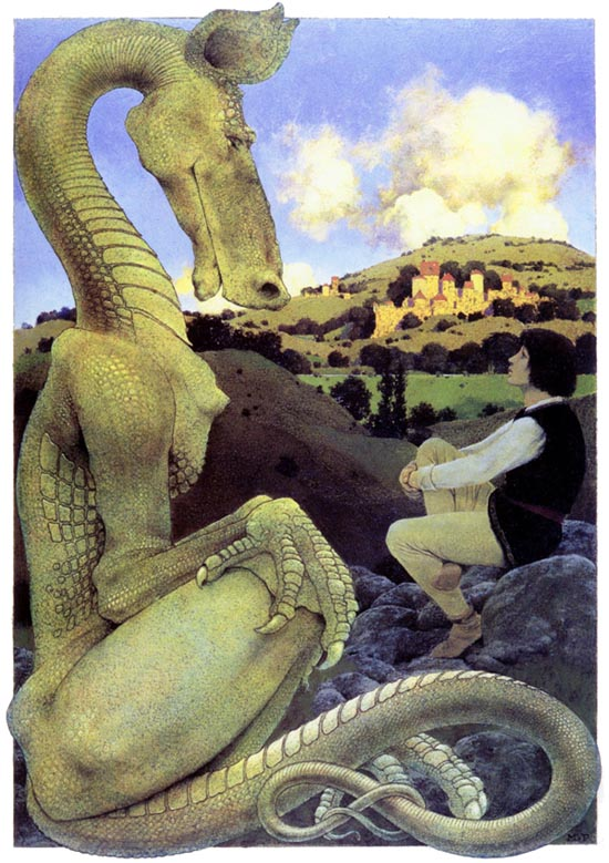 Kenneth Grahame, Dream Days, illustration of the Reluctant Dragon by Mayfield Parrish