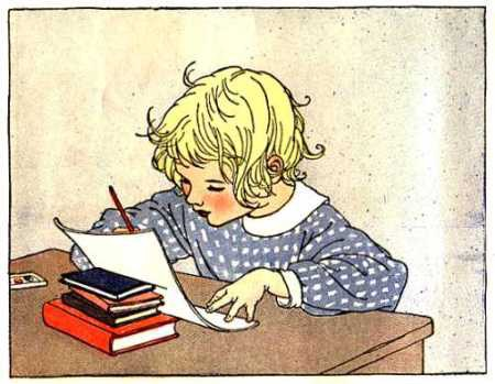 A little girl writing at a desk - public domain image