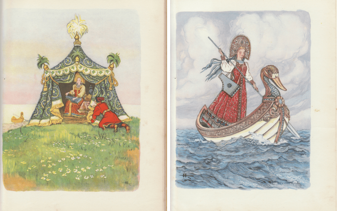 Enter intrepid princess, with a damascene tent and a bird-boat! No wonder he fell at her feet.