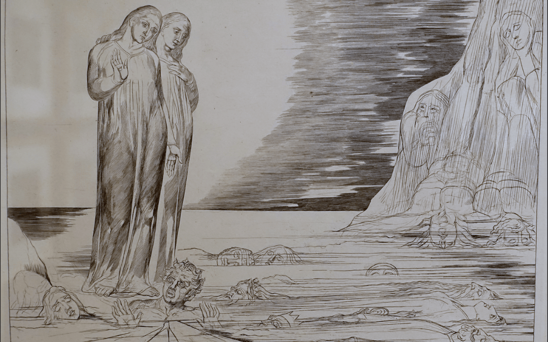 The Circle of the Traitors - Dante's Foot Striking Bocca Degli Abati, illustration for the Divine Comedy, by William Blake, 1826-1827, engraving - Montreal Museum of Fine Arts - Montreal, Canada