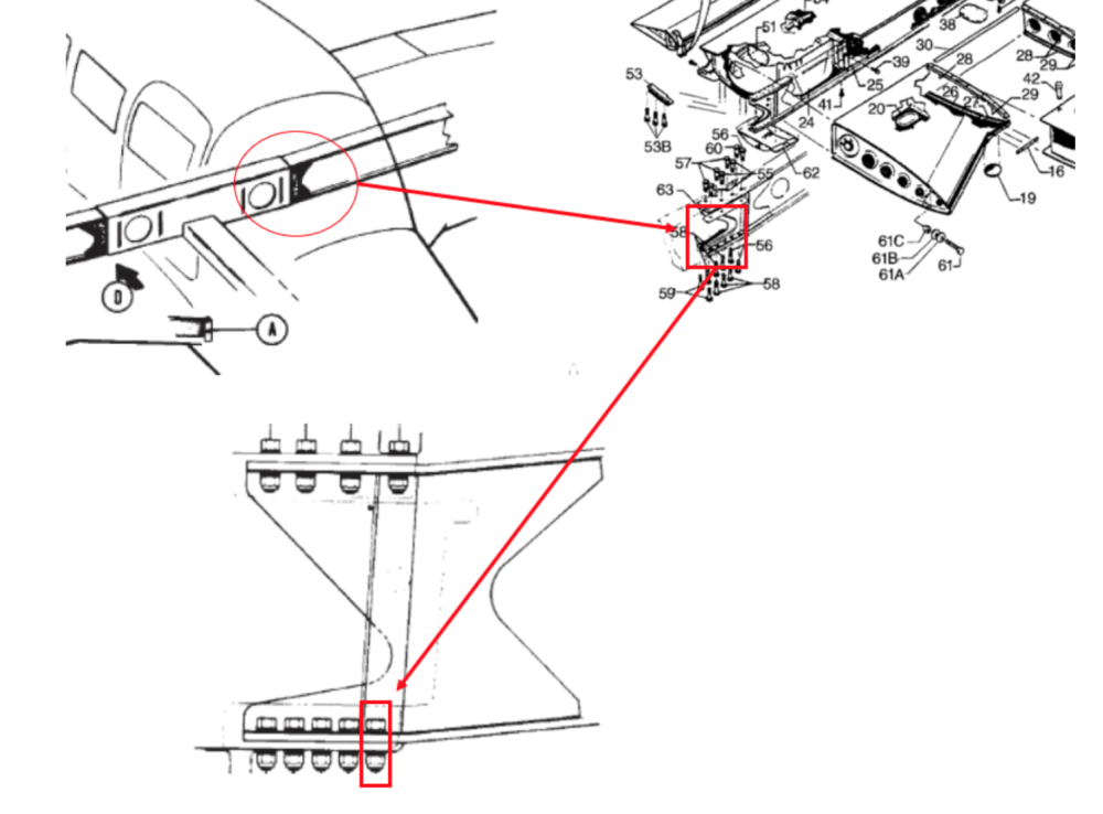 medium resolution of image 2 this ntsb graphic highlights the left wing assembly and attachment bolt for a piper pa 28r 201 the wing spar attachment bolt hole is an area of