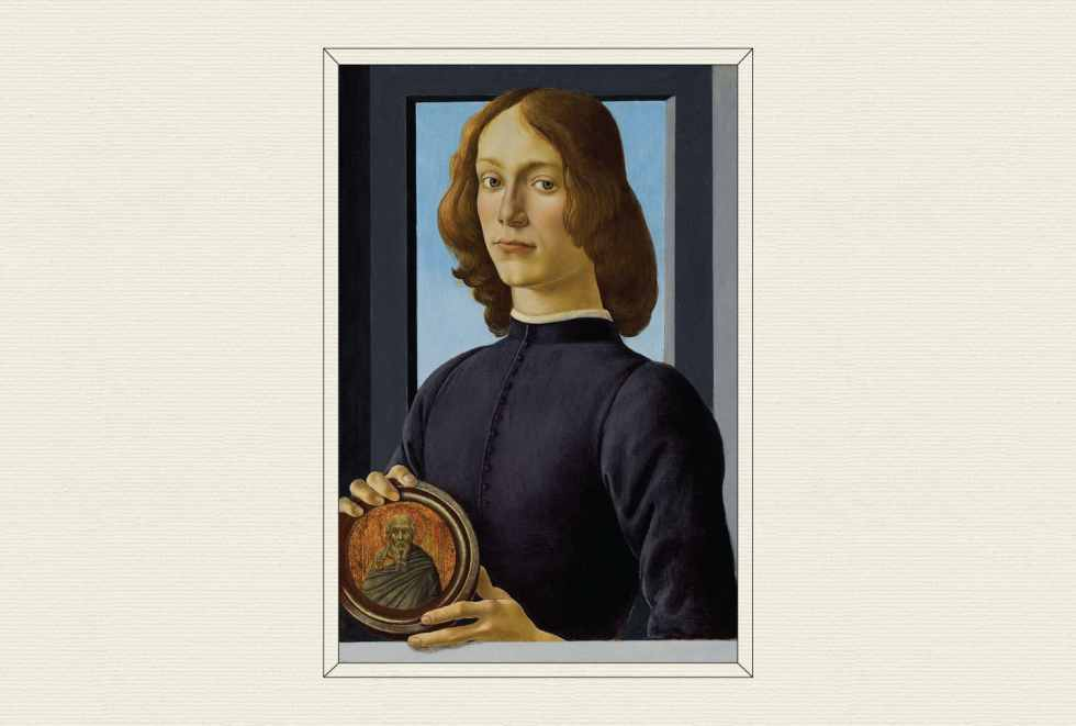 Portrait of a Young Man Holding a Roundel, 1480, by Sandro Botticelli