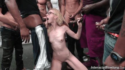 Leaked | Skinny young blonde group fucked her mouth by the gang | Mega Collection 🔥