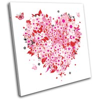 Floral Heart Pink Love SINGLE CANVAS WALL ART Picture ...