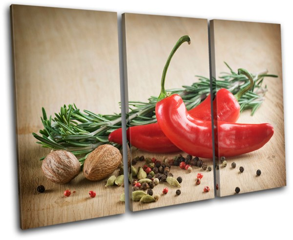 Spices Chili Pepper Food Kitchen Treble Canvas Wall Art Print Va
