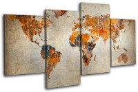 Grunge World Atlas Maps Flags MULTI CANVAS WALL ART