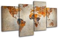 Grunge World Atlas Maps Flags MULTI CANVAS WALL ART