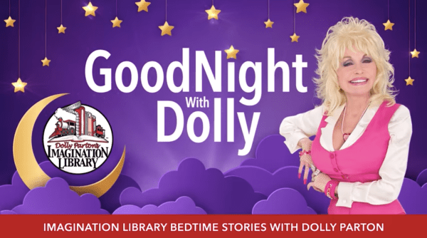 Promotional image for GoodNight with Dolly, where Parton stands in front of a night sky, it is one of the uplifting LGBT+ news stories during COVID-19