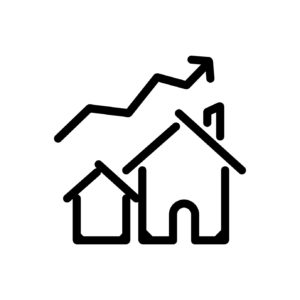 house prices uplift outlined vector icon. Outlined symbol