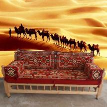 Arabic Majlis Floor Sofa With Wooden Bench Patio Furniture
