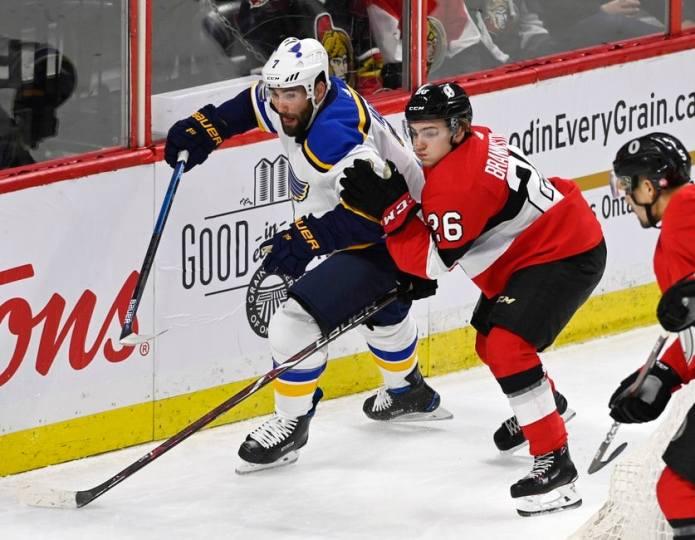 Ottawa Senators Erik Brannstrom Blues of St. Louis Patrick Maroon