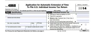 IRS Form 4868 Automatic Extension to file taxes
