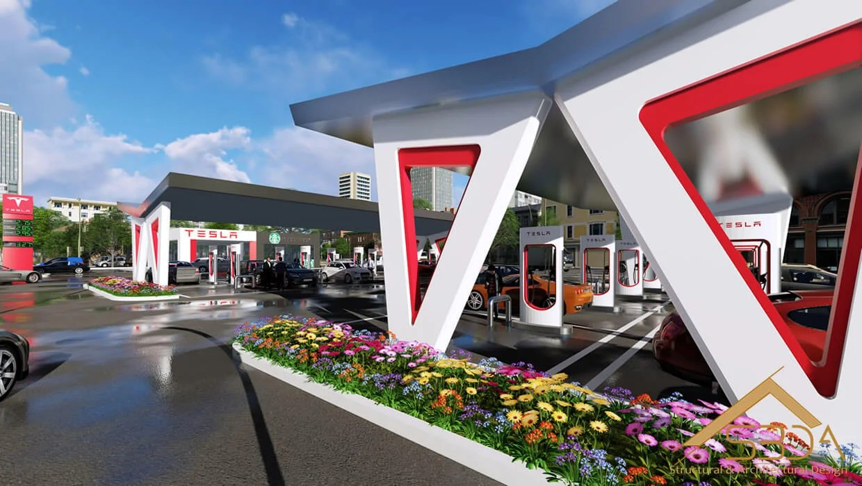 3D visualization- exterior- gas station