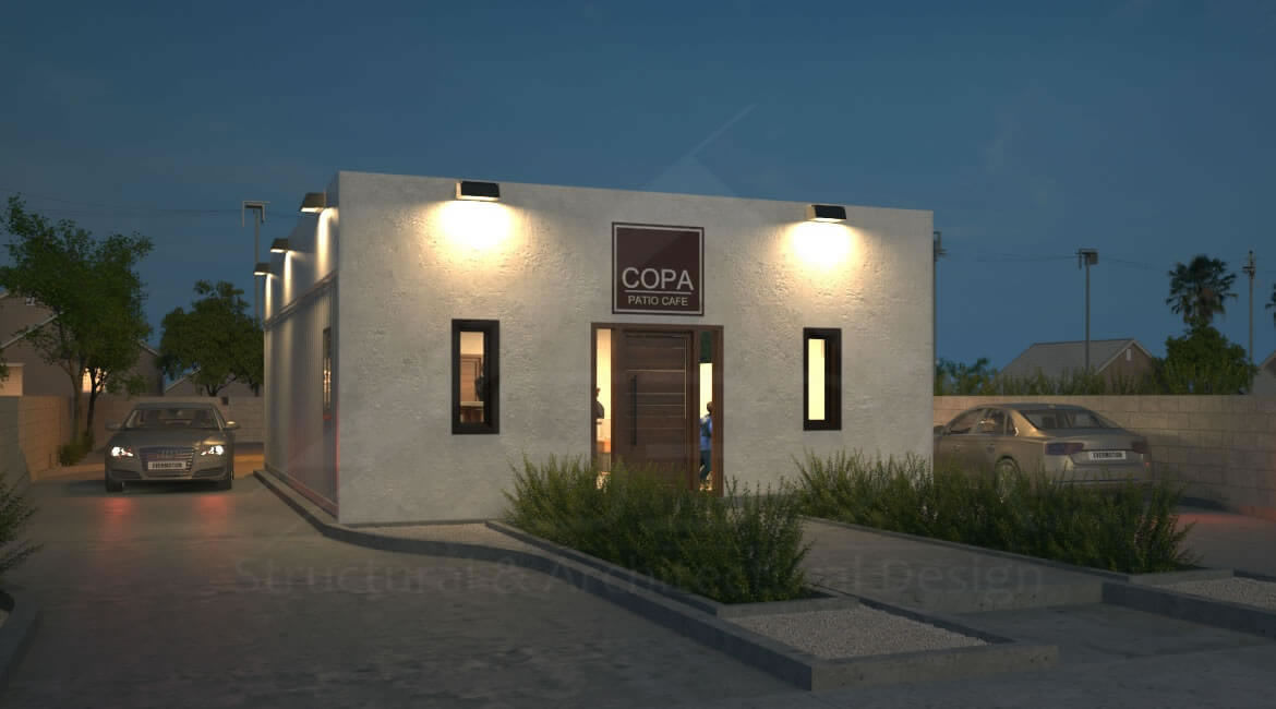 Exterior Rendering- Cafe container - night view