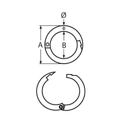 Two-Part Stainless Steel Round Ring With Snap Fastener