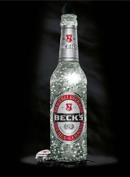 beck's beer bottle as a disco ball - branding by Nebojsa Despotovic