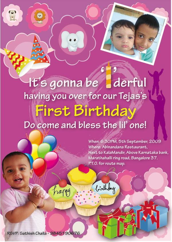 1st birthday invitation card for baby