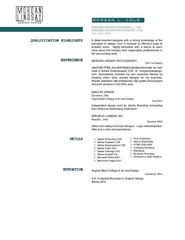 graphic design resume cover