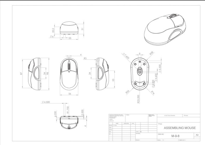 Mouse 3D model with Technical Drawing by Yixing Lu at