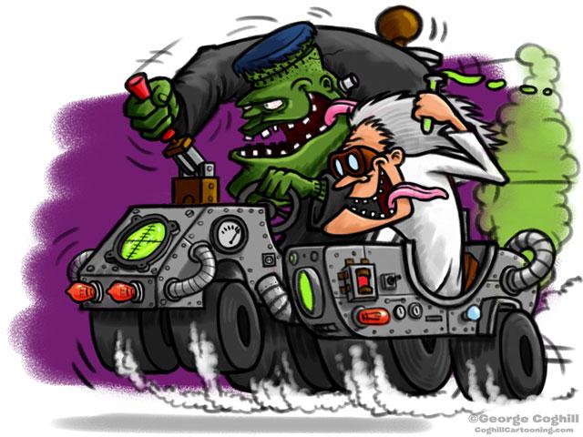 Frankenstein Lab Hot Rod Cartoon Vehicle Sketch by George