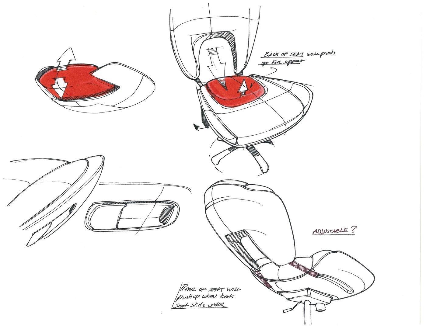 Chair design concept Sketches by Jon Osborne IDSA at