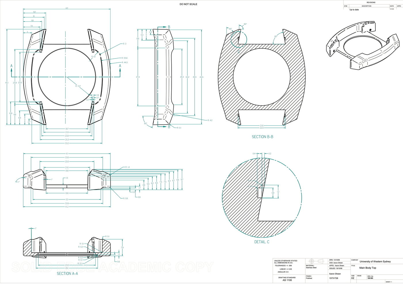 Engineering Drawing Examples By Aaron Sheen At Coroflot