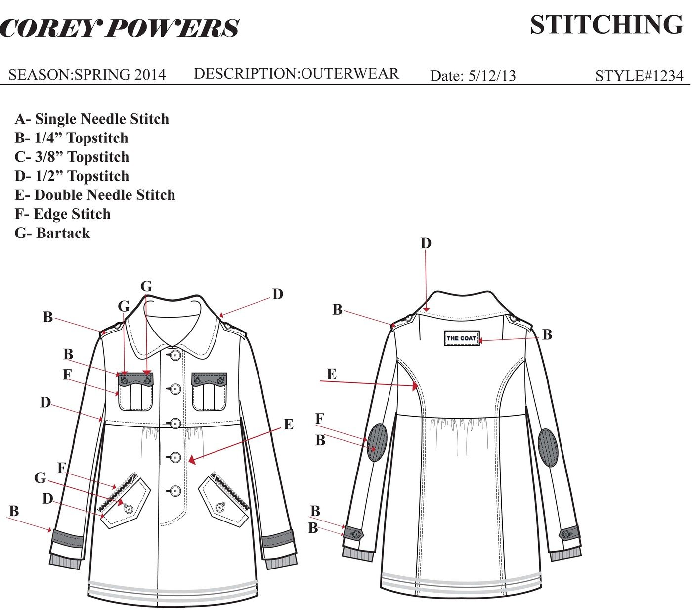 Sample Tech Pack and Spec Sheet by Corey Powers at