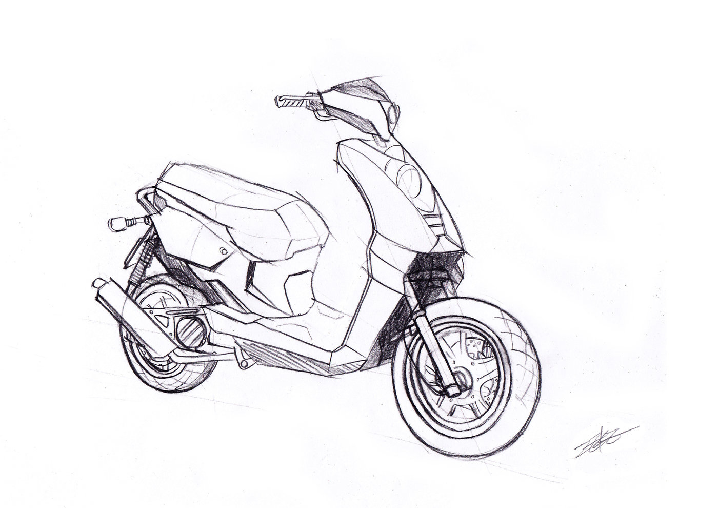 Motorcycle sketch and 2D rendering by Minghsien Wu at