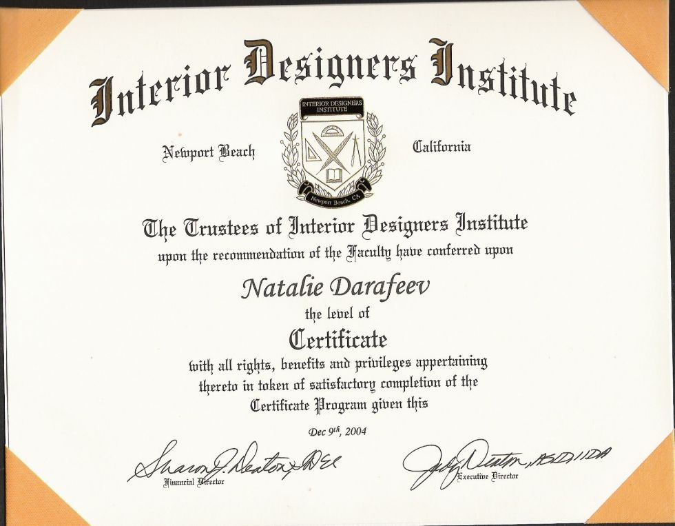 Custom home plans: Interior Design Certification